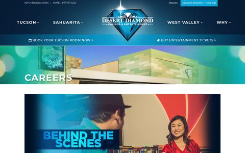 Screenshot of Jobs Page ddcaz.com - Desert Diamond Casino Jobs and Career Opportunities - captured Oct. 8, 2018