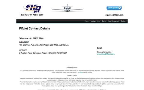 Screenshot of Privacy Page Contact Page fifojet.com - Contact | PACJET - captured Oct. 23, 2014