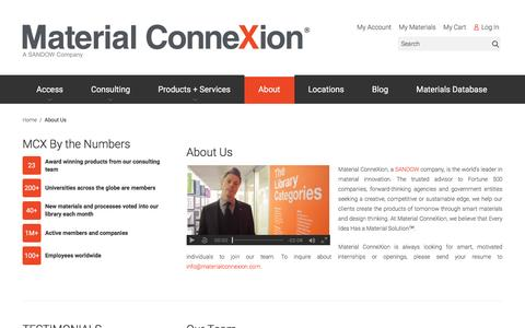 Screenshot of About Page materialconnexion.com - About Us - captured July 21, 2016