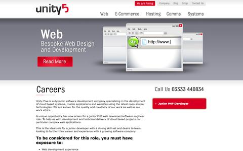 Screenshot of Jobs Page unity5.com - Unity5  - Careers - We are hiring now - Unity Five Ltd - Exeter - captured Oct. 7, 2014