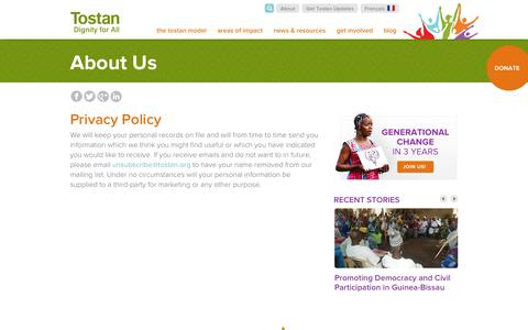 Screenshot of Privacy Page tostan.org - Privacy Policy | Tostan - captured Oct. 7, 2014