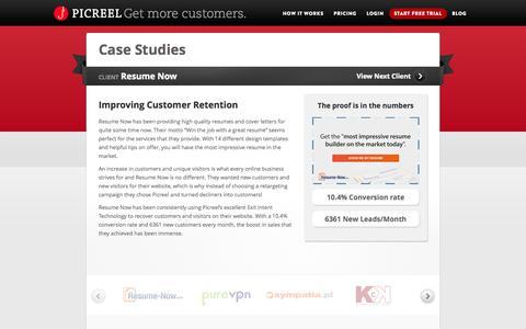 Screenshot of Case Studies Page picreel.com - Case Studies | Picreel.com - captured Sept. 17, 2014