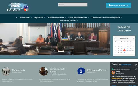 Screenshot of Home Page juntacolonia.gub.uy - Junta Departamental de Colonia - captured Feb. 21, 2018