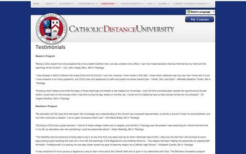 Screenshot of Testimonials Page cdu.edu - Testimonials - captured Jan. 26, 2016