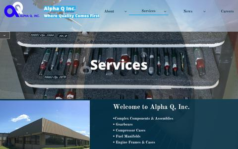 Screenshot of Services Page alphaqinc.com - Services - captured Nov. 6, 2018