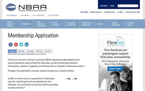 Screenshot of Signup Page nbaa.org - Membership Application - captured Oct. 27, 2018