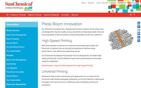 Press Room Innovation | Sun Chemical