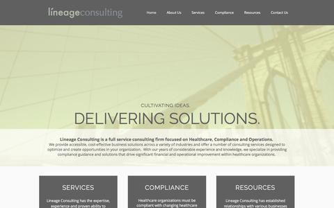 Screenshot of Home Page lineageconsulting.com - Lineage Consulting - Healthcare, Compliance and Operations Consulting - captured July 15, 2016