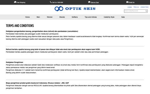 Screenshot of Terms Page optikseis.com - Optik Seis - Terms and Conditions - captured Nov. 23, 2018