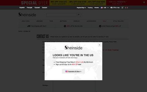 Screenshot of Contact Page sheinside.com - Contact Us - captured Oct. 29, 2014