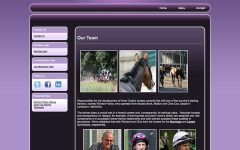 Screenshot of Team Page innercirclethoroughbreds.com - Jim McGrath   Richard Fahey   Clive Cox   Horse Racing  Trainers, Jockeys & Management : - captured Sept. 26, 2014