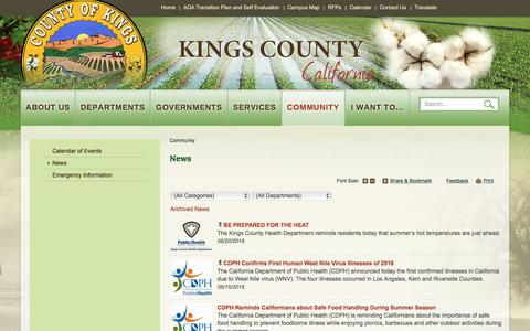 Screenshot of Press Page countyofkings.com - News   Kings County - captured July 4, 2018