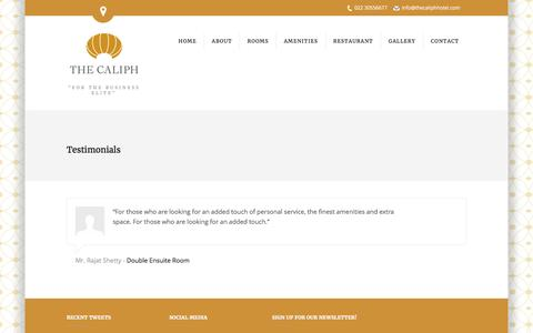 Screenshot of Testimonials Page thecaliphhotel.com - Testimonials | The Caliph Hotel - captured Feb. 24, 2016