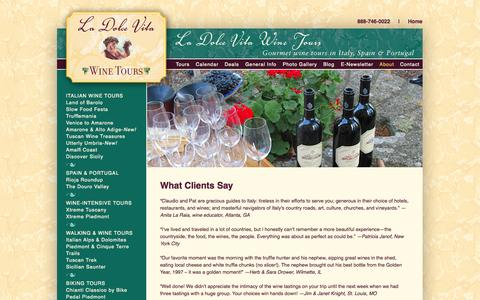 Screenshot of Testimonials Page dolcetours.com - La Dolce Vita Wine Tours  | Testimonials - captured Oct. 1, 2014