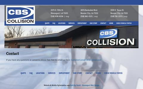 Screenshot of Contact Page cbscollision.com - CBS Collision |    Contact - captured Sept. 26, 2014