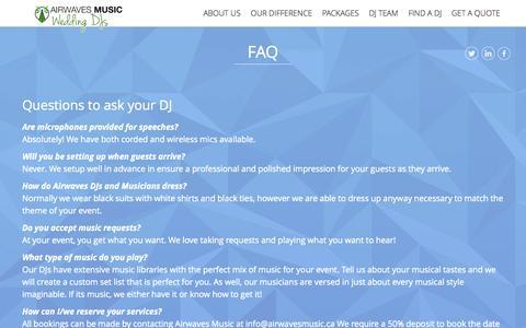 Screenshot of FAQ Page airwavesmusic.ca - FAQ - captured Sept. 30, 2014