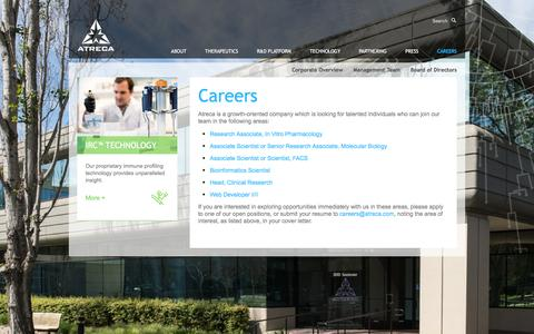 Screenshot of Jobs Page atreca.com - Atreca |   Careers - captured Feb. 21, 2016