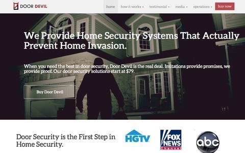 Screenshot of Home Page doordevil.com - Door Security for Homes - captured Sept. 6, 2015