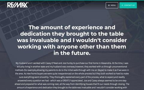 Screenshot of Testimonials Page caseyoneal.com - Testimonials | Casey O'Neal | RE/MAX Allegiance - captured Oct. 31, 2018