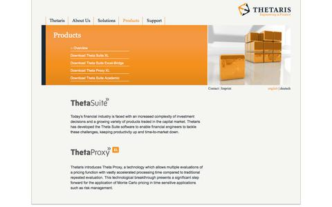 Screenshot of Products Page thetaris.com - Products | Thetaris - captured June 17, 2017