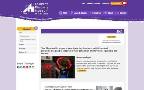 Screenshot of Signup Page cdm.org - Join - Children's Discovery Museum of San Jose - captured Sept. 19, 2014