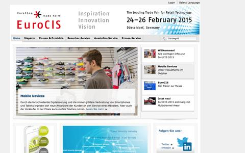 Screenshot of Home Page eurocis.com - EuroCIS - The Leading Trade Fair for Retail Technology - - captured Oct. 1, 2014