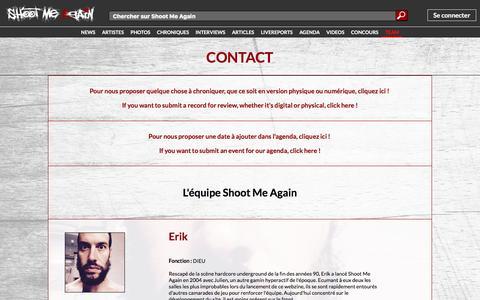 Screenshot of Team Page shootmeagain.com - CONTACT   Shoot Me Again Webzine. - captured Aug. 13, 2016