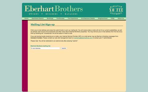 Screenshot of Signup Page eberhartbros.com - Eberhart Brothers - No Fee Manhattan Apartment Rentals - captured Jan. 14, 2016