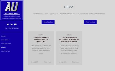 Screenshot of Press Page auconsultancy.co.uk - News - AU Consultancy - captured July 13, 2018