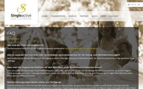Screenshot of FAQ Page singleactive.ch - Inscrivez-vous à notre newsletter pour participer à notre grand concours - captured Oct. 29, 2014