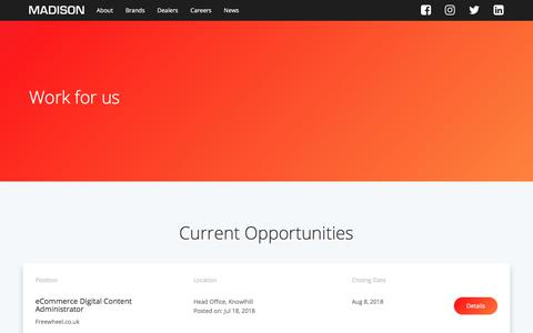 Screenshot of Jobs Page madison.co.uk - Work for us   Careers   Madison.co.uk - captured July 27, 2018