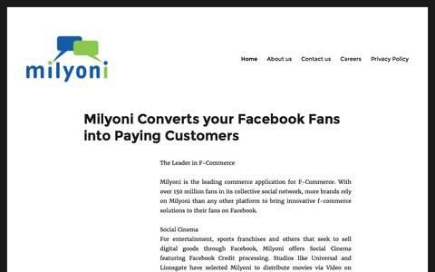 Screenshot of Home Page milyoni.com - | - captured Sept. 7, 2016