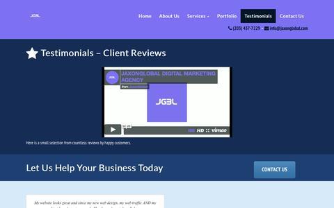Screenshot of Testimonials Page jaxonglobal.com - Testimonials - JaxonGlobal - captured Nov. 26, 2016