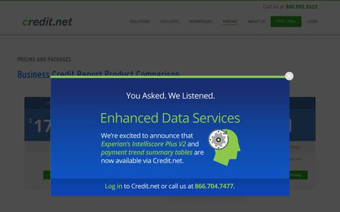 Screenshot of Pricing Page credit.net - Pricing & Packages for Business Credit Reports | Credit.net - captured Dec. 12, 2018