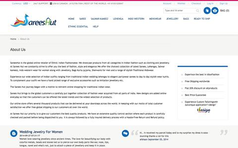 Screenshot of About Page sareeshut.com - About Us - captured Sept. 30, 2014