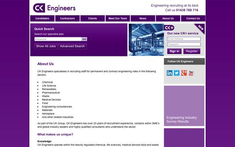 Screenshot of About Page ckengineers.co.uk - About Us | CK Engineers - captured Oct. 1, 2014