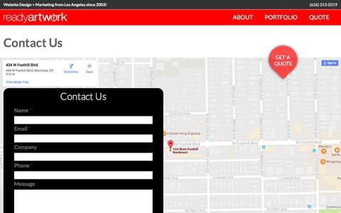 Screenshot of Contact Page readyartwork.com - Contact Us | Ready Artwork - Websites, Design & Marketing - captured June 11, 2017