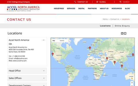 Screenshot of Contact Page Locations Page accelna.com - Locations - Accel North America - captured Oct. 7, 2017