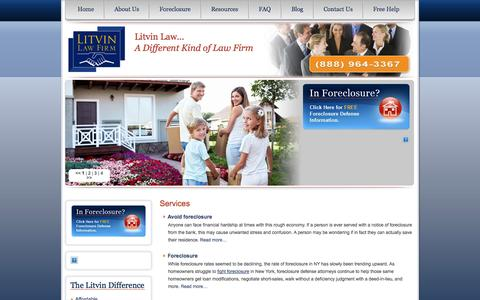 Screenshot of Services Page litvinlaw.com - Services | Litvin Law Firm | 888-964-3367 - captured Oct. 3, 2014