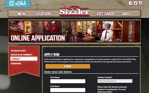 Screenshot of Jobs Page sizzler.com - Apply - Sizzler - captured Jan. 17, 2016