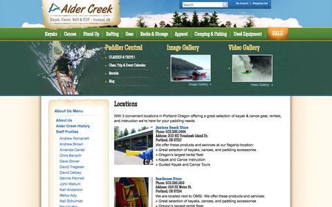 Screenshot of Locations Page aldercreek.com - Alder Creek Kayak & Canoe Locations - Portland OR - captured Oct. 4, 2014