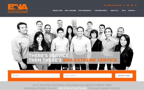 Screenshot of Home Page bnastaffing.com - BNA Staffing: NYC Staffing Agency, IT Recruiters, Office Support Jobs - captured Oct. 5, 2014