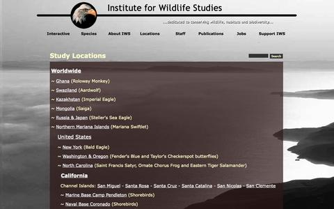Screenshot of Locations Page iws.org - Study Locations - captured Oct. 6, 2014