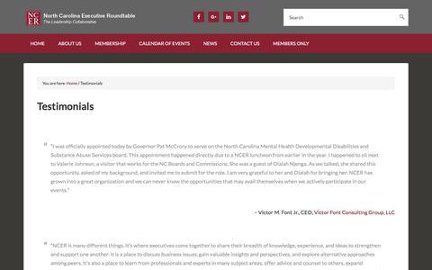 Screenshot of Testimonials Page ncer1.org - Testimonials - captured Oct. 22, 2017