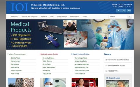 Screenshot of Home Page industrialopportunities.com - Military Products, Medical Products, Elastic Products - IOI - captured Nov. 19, 2016