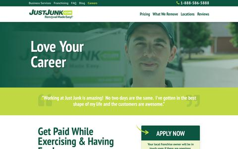 Screenshot of Jobs Page justjunk.com - Careers - JUST JUNK® - captured Sept. 20, 2018