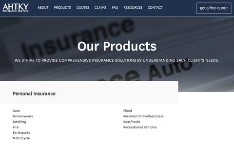 Screenshot of Products Page ahtky.com - Products | AHTKY Insurance Agency - captured Oct. 2, 2018