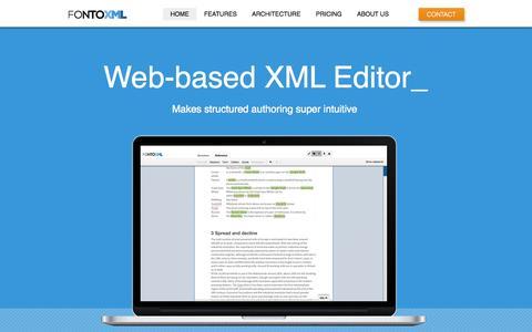 Screenshot of Home Page fontoxml.com - FontoXML - Web based XML editor - captured Oct. 6, 2014