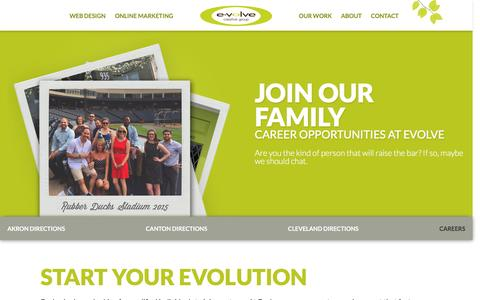 Screenshot of Jobs Page evolvecreativegroup.com - Evolve Careers | Akron, OH Web Design and Online Marketing - captured July 16, 2016