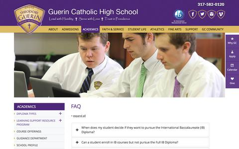 Screenshot of FAQ Page guerincatholic.org - FAQ | Guerin Catholic High School - captured Nov. 3, 2017